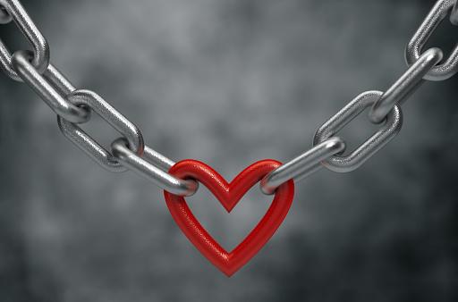 ketting met een rood hart